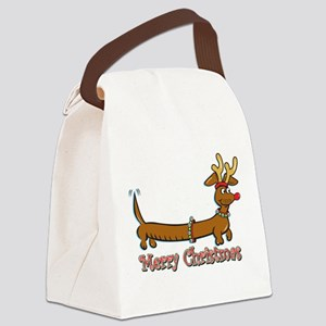 Merry Christmas Dachshund Canvas Lunch Bag