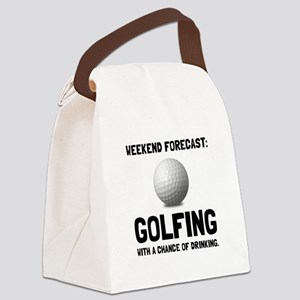 Weekend Forecast Golfing Canvas Lunch Bag