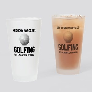 Weekend Forecast Golfing Drinking Glass