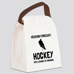 Weekend Forecast Hockey Canvas Lunch Bag