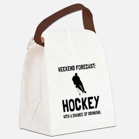 Weekend Forecast Hockey Canvas Lunch Bag