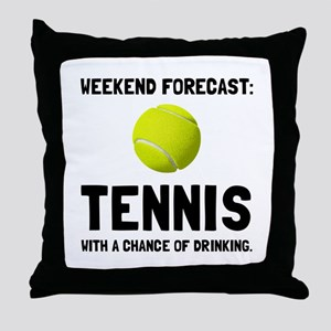 Weekend Forecast Tennis Throw Pillow