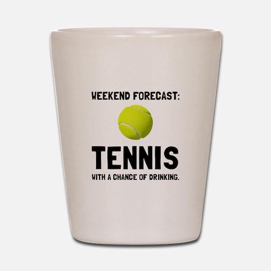 Weekend Forecast Tennis Shot Glass