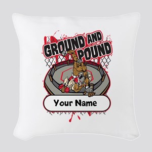 Custom Ground and Pound MMA Woven Throw Pillow
