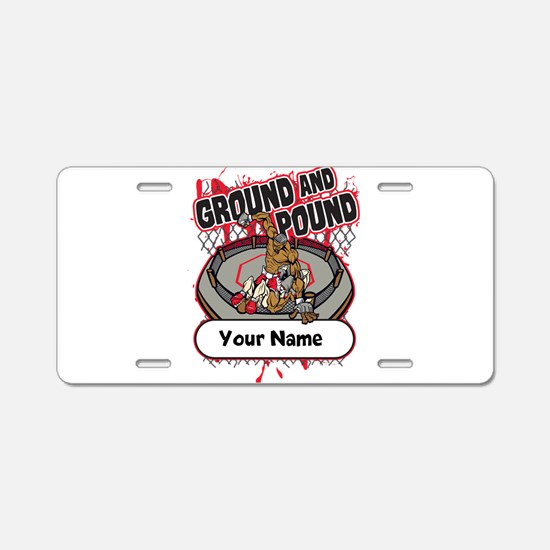 Custom Ground and Pound MMA Aluminum License Plate