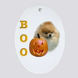 Pomeranian Boo Oval Ornament