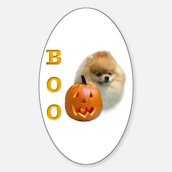 Pomeranian Boo Oval Decal