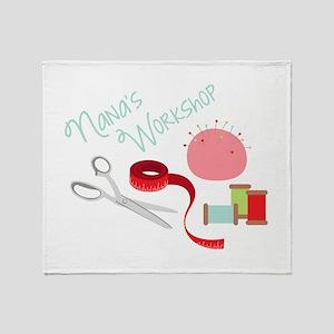 Nanas Workshop Throw Blanket