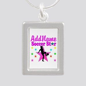 SOCCER PLAYER Silver Portrait Necklace
