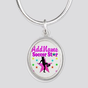 SOCCER PLAYER Silver Oval Necklace