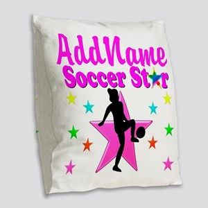 SOCCER PLAYER Burlap Throw Pillow