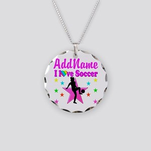 SOCCER PLAYER Necklace Circle Charm