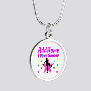 SOCCER PLAYER Silver Round Necklace