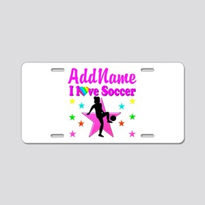 SOCCER PLAYER Aluminum License Plate