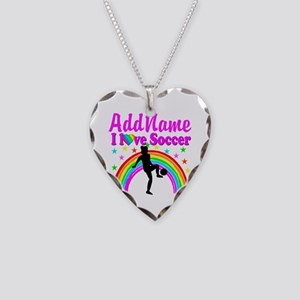 SOCCER PLAYER Necklace Heart Charm