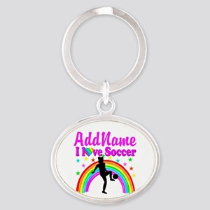 SOCCER PLAYER Oval Keychain