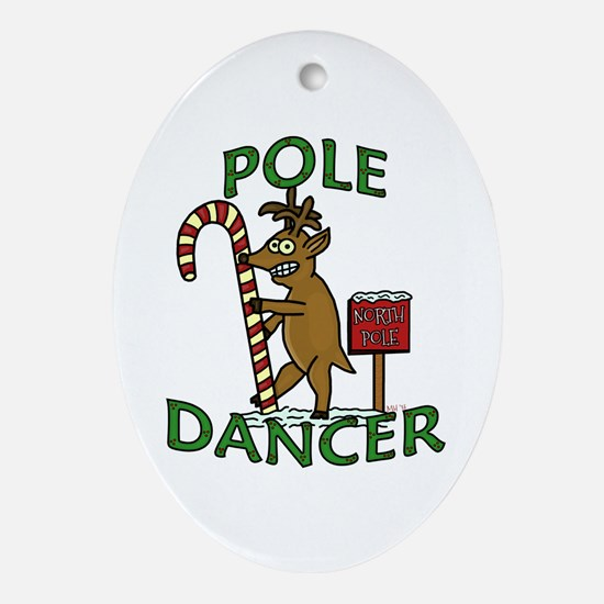Funny Dancer Christmas Reindeer Pun Ornament (Oval