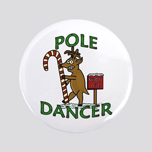 "Funny Dancer Christmas Reindeer Pun 3.5"" Button"