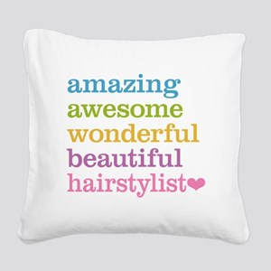 Hairstylist Square Canvas Pillow