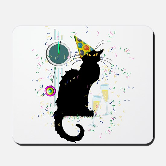 Chat Noir New Years Party Countdown Mousepad
