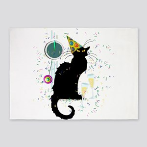 Chat Noir New Years Party Countdown 5'x7'Area Rug