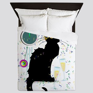 Chat Noir New Years Party Countdown Queen Duvet