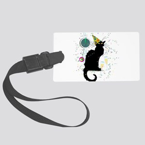 Chat Noir New Years Party Countd Large Luggage Tag