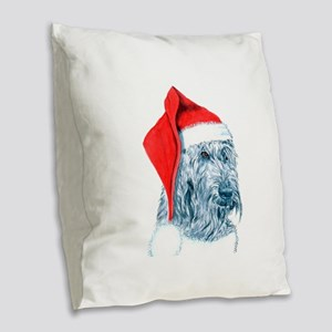 Santa Labradoodle Burlap Throw Pillow
