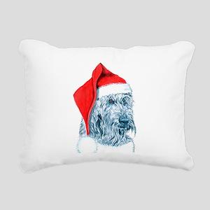Santa Labradoodle Rectangular Canvas Pillow