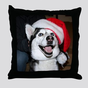 Christmas Husky Throw Pillow