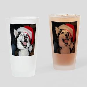 Christmas Husky Drinking Glass