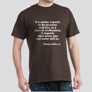 Jefferson on Ignorance and Freedom Dark T-Shirt