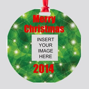Personalize Christmas Picture Round Ornament