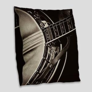 Bluegrass Banjo Burlap Throw Pillow