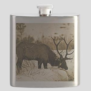 Sepia elk in snow Flask