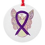 Purple Ribbon Angel Ornament