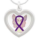 Purple Ribbon Angel Necklaces