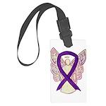 Purple Ribbon Angel Luggage Tag