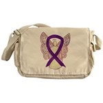 Purple Ribbon Angel Messenger Bag