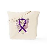 Purple Ribbon Angel Tote Bag