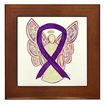 Purple Ribbon Angel Framed Tile