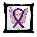 Purple Ribbon Angel Throw Pillow