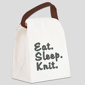 Eat. Sleep. Knit - Canvas Lunch Bag