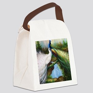 peacocks Canvas Lunch Bag