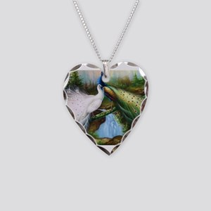 peacocks Necklace Heart Charm
