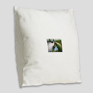 peacocks Burlap Throw Pillow