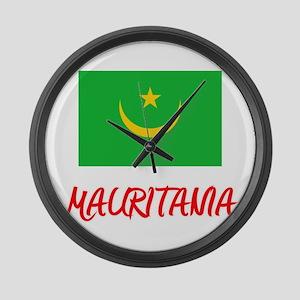 Mauritania Flag Artistic Red Desi Large Wall Clock