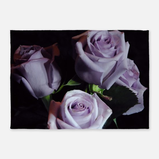 Lavender Rose Bouquet 5'x7'Area Rug