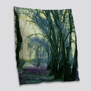 Line of Weeping Willow Trees. Burlap Throw Pillow