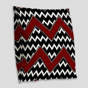 Black White Red Chevron Burlap Throw Pillow